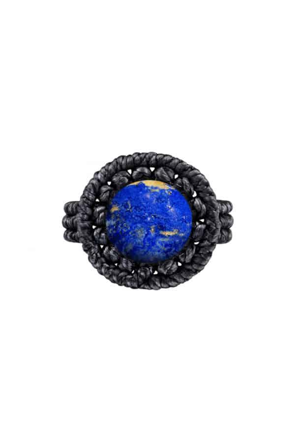Drhaný prsten s lapis lazuli