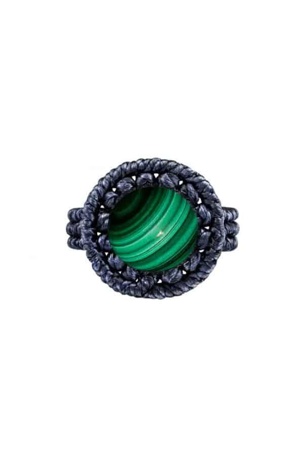Drhaný prsten s malachitem