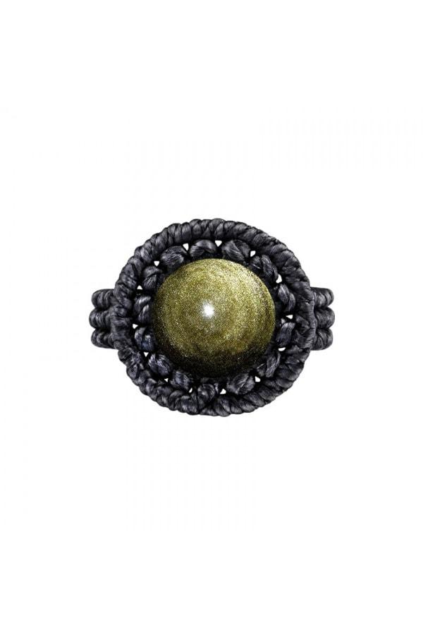 Drhaný prsten se zlatým obsidiánem
