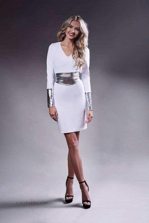 Bílo-stříbrné šaty