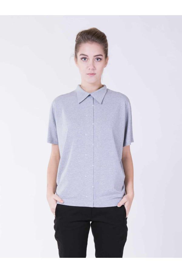 Tričko šedé s límečkem