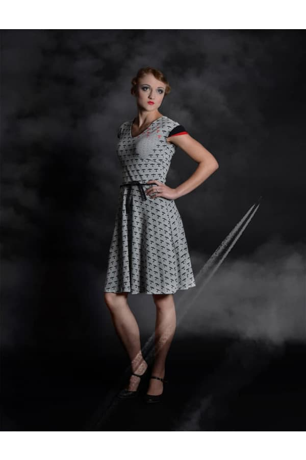 šaty šedé letadla - RED BARON