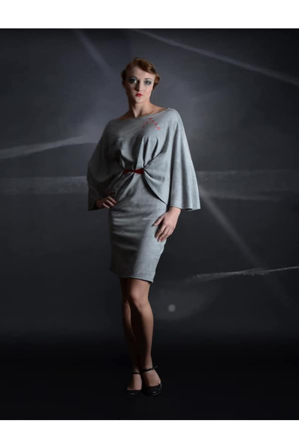 šaty šedé netopýr - RED BARON