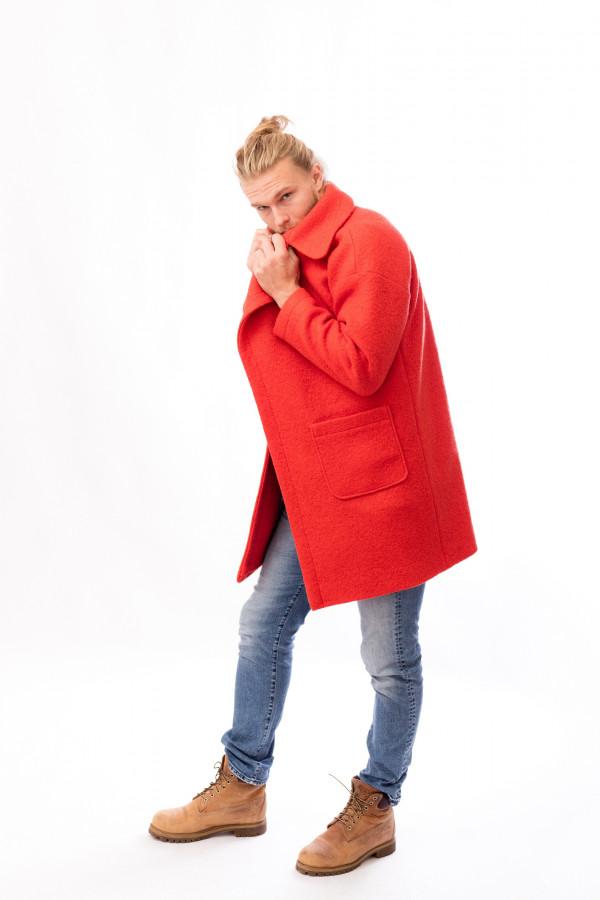 pánský kabát červený