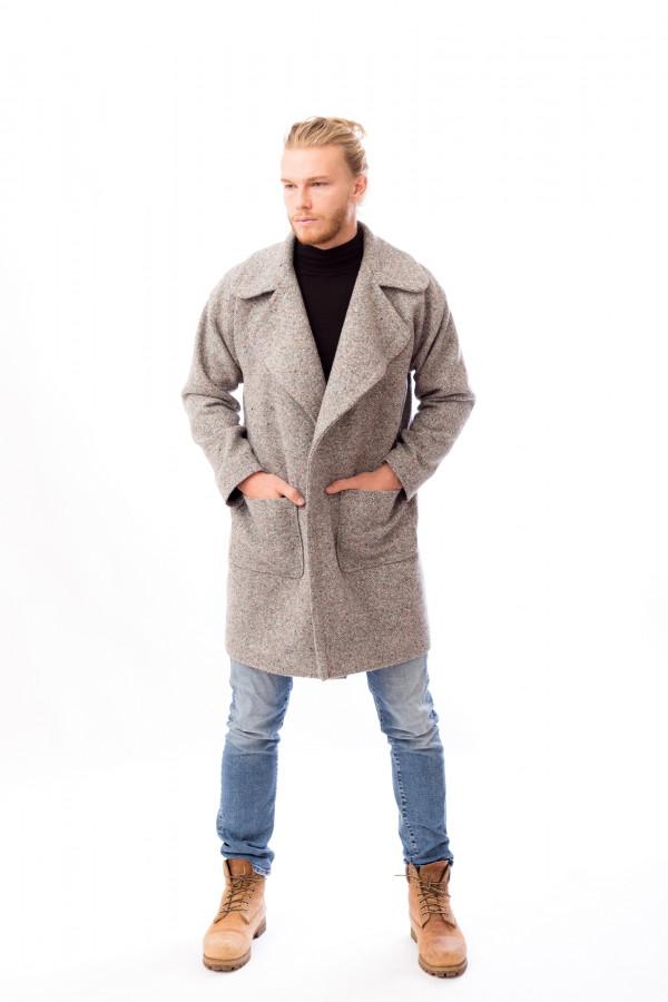 pánský šedý kabát