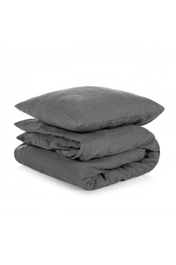 Lněné povlečení Dark Grey 200x200, 50x70